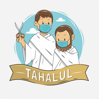 Illustrazione di persone che tagliano i capelli durante l'hajj