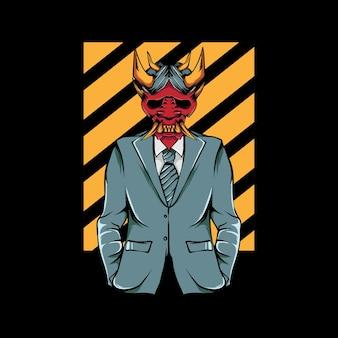 Illustrazione di persone che indossano maschere oni e indossano abiti fantastici
