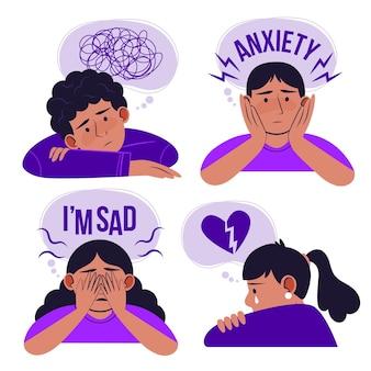 Illustrazione di persone con problemi di salute mentale