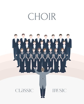 Illustrazione del coro classico delle prestazioni. cantanti uomo e donna insieme al direttore d'orchestra