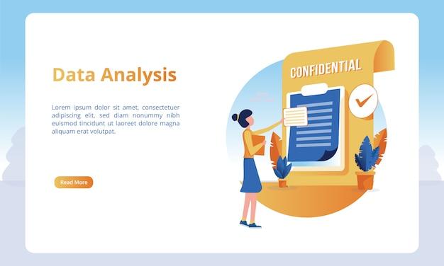 Illustrazione di una persona che analizza i dati per i modelli di una pagina di destinazione Vettore Premium