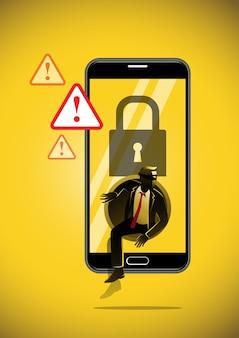 Un'illustrazione di phishing che ruba dati digitali dal telefono cellulare