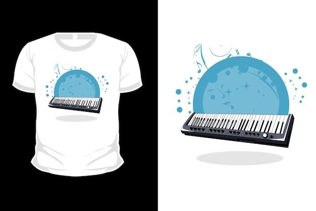 Illustrazione del design della maglietta del pianoforte