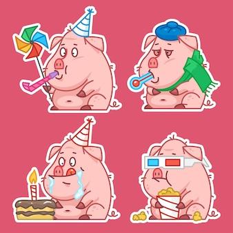Illustrazione, concetto di adesivi personaggio maiale set 1, formato eps 10