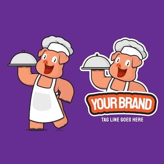 Illustrazione della mascotte personaggio dei cartoni animati di maiale chef