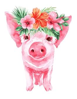 Illustrazione del maiale con fiori