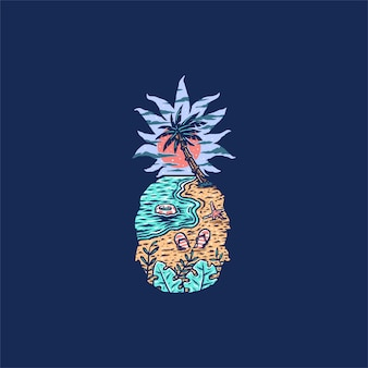 Illustrazione della spiaggia di ananas, stile linea disegnata a mano con colore digitale