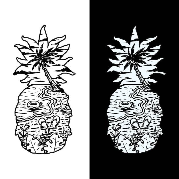 Illustrazione della spiaggia di ananas, isolato su sfondo scuro e luminoso