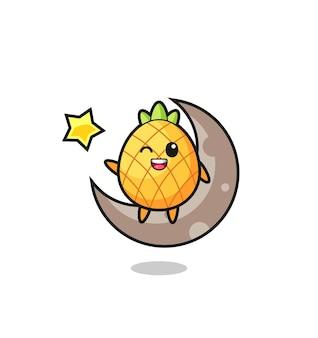 Illustrazione del cartone animato di ananas seduto sulla mezza luna, design in stile carino per maglietta, adesivo, elemento logo