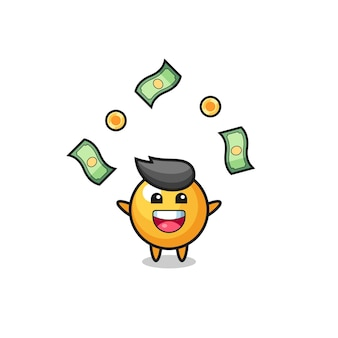Illustrazione del ping pong che cattura soldi che cadono dal cielo, design carino