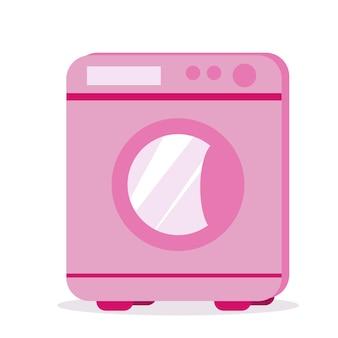 Illustrazione di una lavatrice rosa. cartone animato isolato