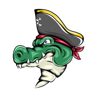 L'illustrazione del coccodrillo dei pirati che usa il cappello dei pirati per la grande nave mascotte