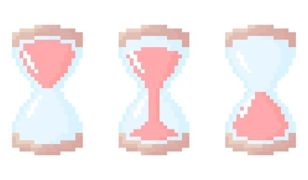 Illustrazione del set di clessidra pixelata