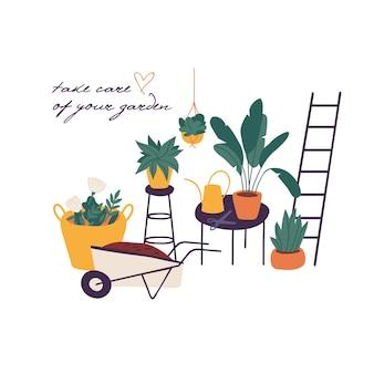Illustrazione piante nella raccolta di vasi. pacchetto di attrezzi da giardinaggio e piante. concetto di giardinaggio domestico.