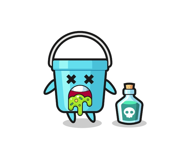 Illustrazione di un personaggio di secchio di plastica che vomita a causa di avvelenamento, design in stile carino per maglietta, adesivo, elemento logo
