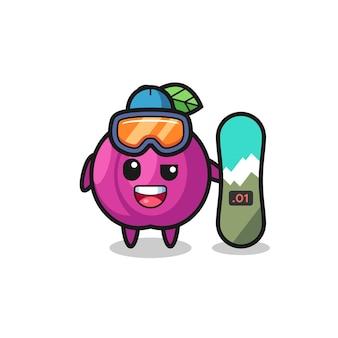 Illustrazione del personaggio di frutta prugna con stile snowboard, design in stile carino per maglietta, adesivo, elemento logo