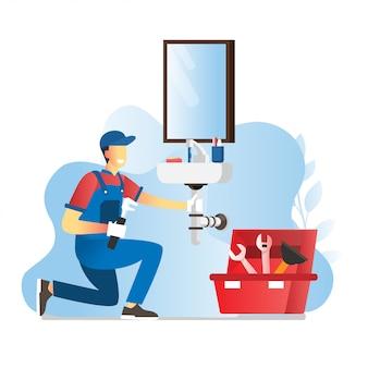 L'illustrazione delle riparazioni dell'operaio dell'idraulico o installa il tuttofare del wastafel fa i lavori di riparazione della casa Vettore Premium