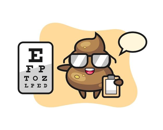 Illustrazione della mascotte della cacca come oftalmologia, design in stile carino per maglietta, adesivo, elemento logo