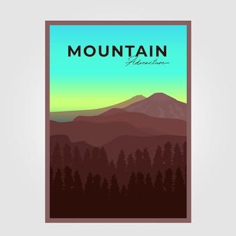 Illustrazione poster avventura in montagna sfondo disegno vettoriale