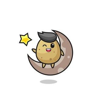 Illustrazione del cartone animato di patate seduto sulla mezza luna, design in stile carino per maglietta, adesivo, elemento logo