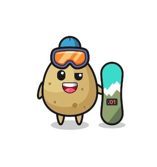 Illustrazione del personaggio di patate con stile snowboard, design in stile carino per maglietta, adesivo, elemento logo