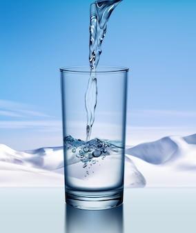 Illustrazione di versare acqua fresca in vetro isolato su sfondo di montagne