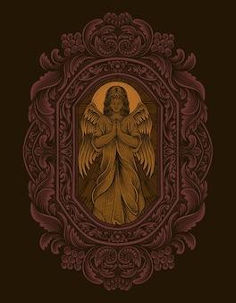 Illustrazione angelo che prega con stile ornamento incisione vintage