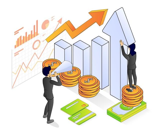 Illustrazione di stile isometrico vettoriale premium su banche e finanza con un personaggio
