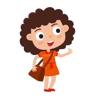 Illustrazione della ragazza riccia abbastanza alla moda con la borsa