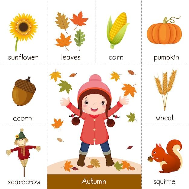 Illustrazione della scheda flash stampabile per l'autunno e la bambina che gioca con le foglie d'autunno