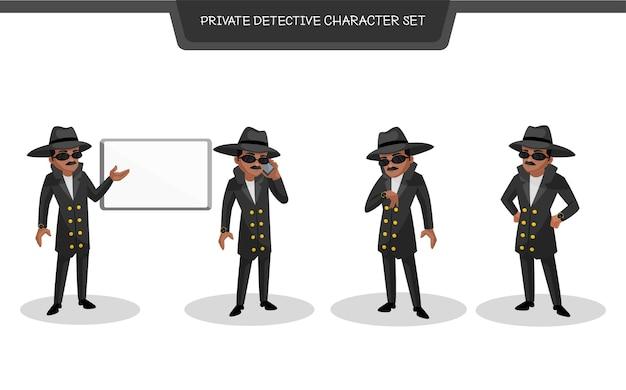 Illustrazione del set di caratteri detective privato