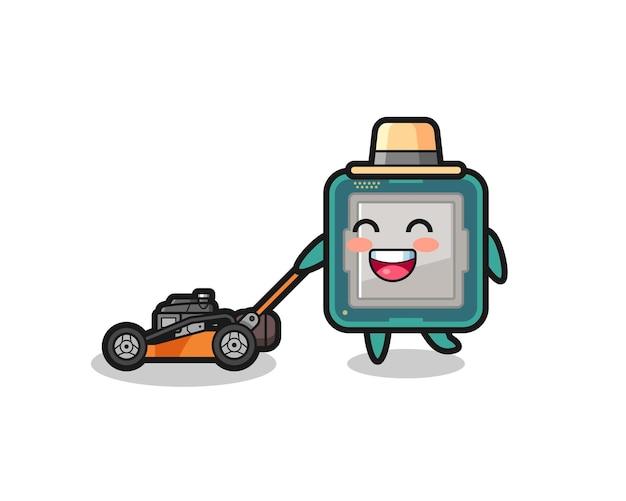 Illustrazione del personaggio del processore che utilizza tosaerba, design in stile carino per t-shirt, adesivo, elemento logo
