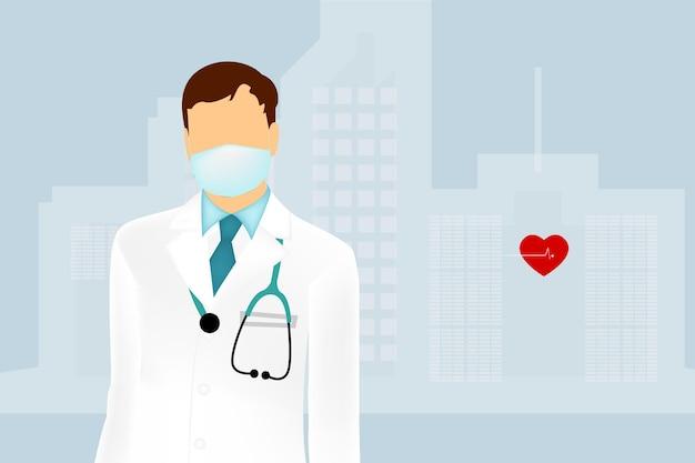 Illustrazione di un medico professionista in una divisa medica bianca con uno stetoscopio e in una maschera medica.