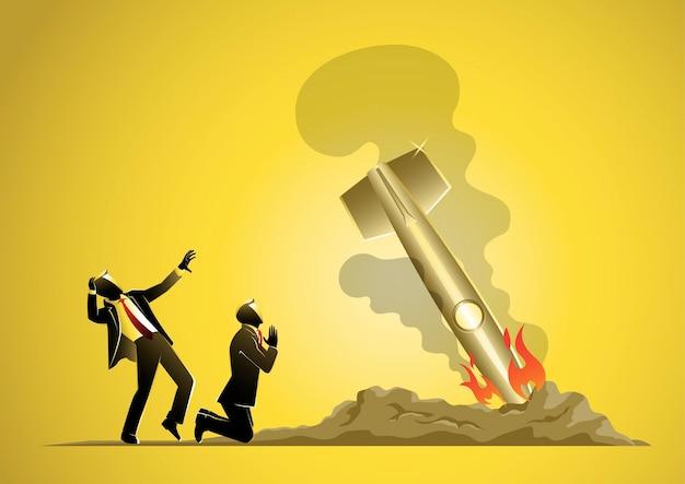 Un'illustrazione del fallimento dell'avvio del progetto. razzo caduto vettore e illustrazione