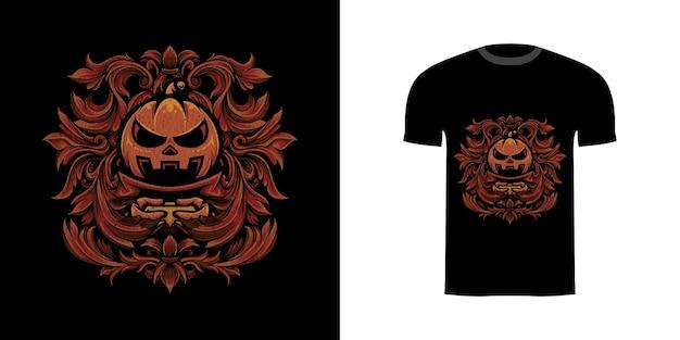 Illustrazione zucca halloween con ornamento incisione per il design della maglietta