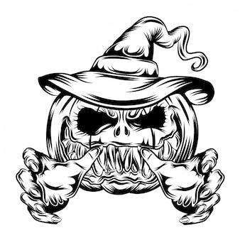 Illustrazione di zucche con cappello conico e mani