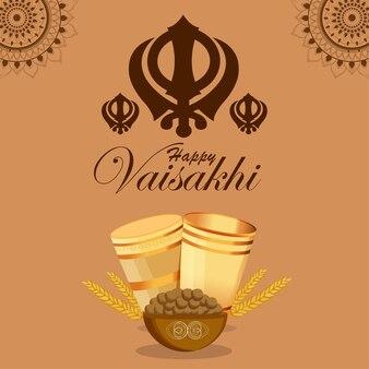 Illustrazione della cartolina d'auguri di celebrazione di baisakhi festival punjabi