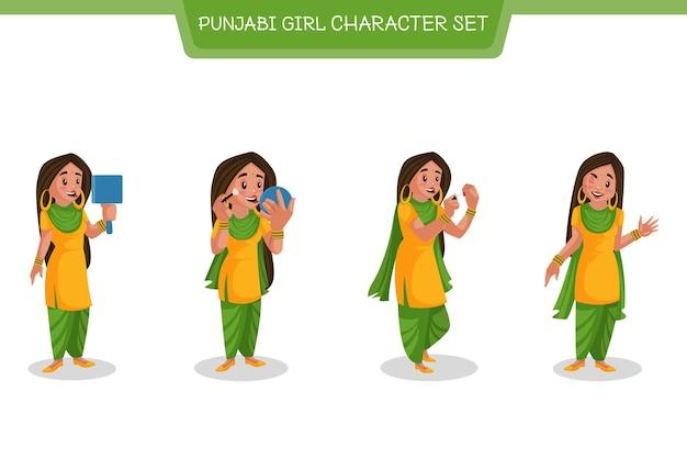 Illustrazione del set di caratteri ragazza punjabi