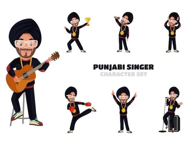 Illustrazione del set di caratteri del cantante punjabi