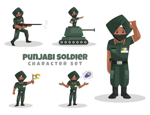 Illustrazione del set di caratteri del soldato punjabi