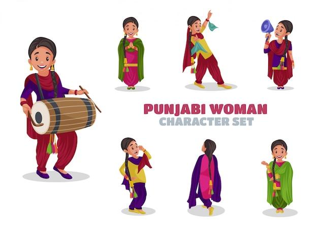 Illustrazione del set di caratteri della donna punjabi
