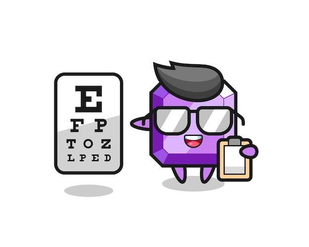Illustrazione della mascotte di pietre preziose viola come oftalmologia, design in stile carino per maglietta, adesivo, elemento logo