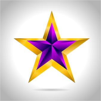 Illustrazione di una stella di natale oro viola