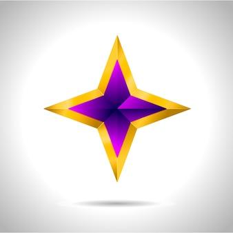 Illustrazione di una stella d'oro viola su fondo in acciaio. file capodanno natale