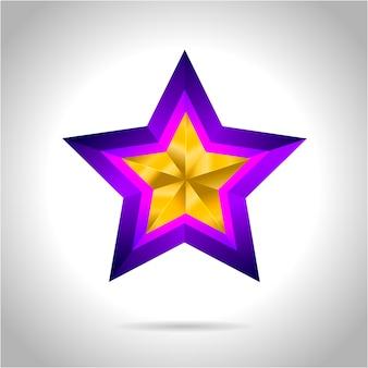 Illustrazione di una stella d'oro viola su fondo in acciaio