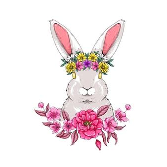 Illustrazione di un coniglio con una corona di fiori per il giorno di pasqua