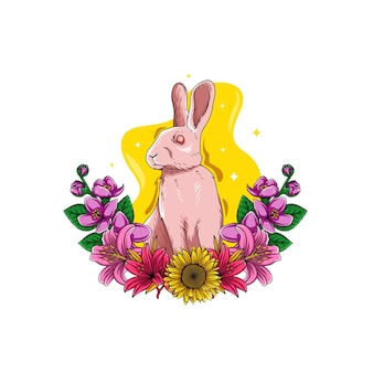 Illustrazione di un coniglio con fiori intorno ad esso per il giorno di pasqua