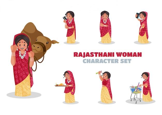 Illustrazione del set di caratteri donna rajasthani