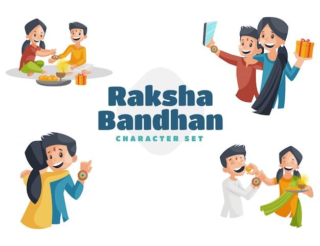 Illustrazione del set di caratteri di raksha bandhan