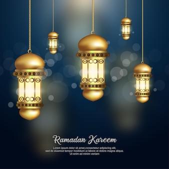 Illustrazione poster islamico della lanterna di ramadan kareem